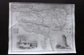 Thomas Moule C1838 Antique Map. Isle of Thanet, Kent
